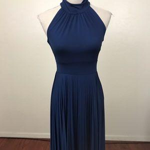 Soprano Navy Movk Neck Pleaded Dress Size M